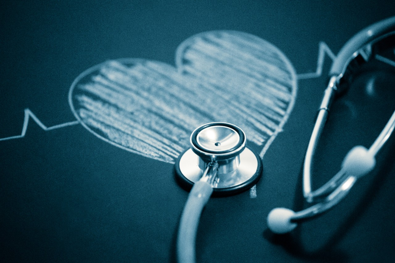 stethoscope and a drawing heart